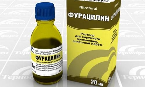 Полоскание горла раствором фурацилина при ангине